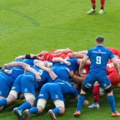 Scrum - eine organisierte Spielertraube beim Rugby, ineinander verhakt und um den Ball ringend